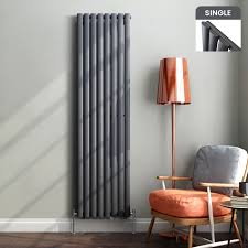 vertical designer radiator oval column panel rad white black