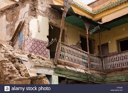 Moroccan Houses by Partially Demolished Moroccan House In Marrakech Stock Photo