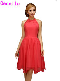popular coral high low bridesmaid dresses buy cheap coral high low