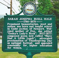 thanksgiving day proclamation roadside history sarah josepha buell hale author of u0027mary had a