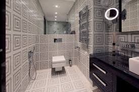 bathroom retro bathroom design ideas with subway tile wall for
