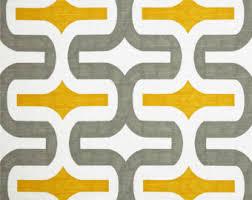 Upholstery Fabric Prints Gray Yellow Fabric Etsy