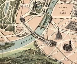 Paris France Map by Paris France 19th Century Vintage Map Old Map 1878 Paris Monuments