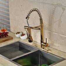 gold finish kitchen sink faucet with pull down faucet