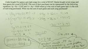 system solutions students are asked to solve a word problem by