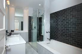 black subway tile marble design bathroom contemporary with black subway tile wall