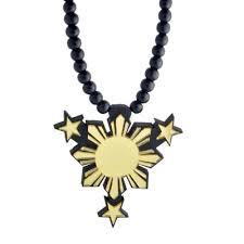 philippine symbol sun and pendant gold wooden pendant