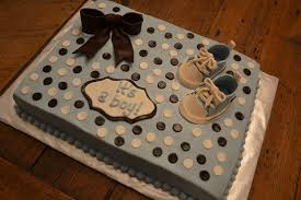 blue amp brown its a boy baby shower cake with bow amp converse
