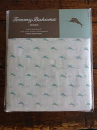 tommy bahama aqua teal marlin tropical fish cotton percale twin