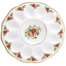 egg plate royal albert country roses deviled egg dish