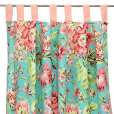 Coral And Turquoise Curtains Coral Camila Curtain Panels Set Of 2 Caden