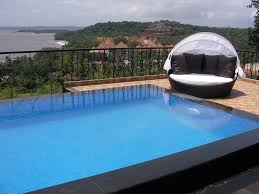 modern house with swimming pool lazy boy seat inside room