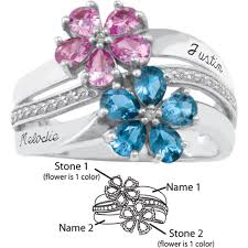 mothers rings 2 stones sterling silver aspire promise ring with 2 simulated birthstones