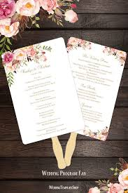 Diy Wedding Fan Programs Printable Wedding Templates Romantic Blossoms Diy Stationery