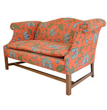 Upholstered Loveseat Chairs Chippendale Style Wingback Upholstered Love Seat Ebth