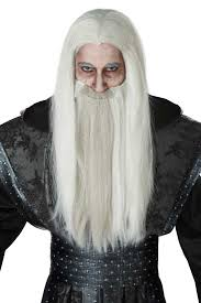 mens halloween wigs mens dark wizard white and gray wig and beard set costume craze