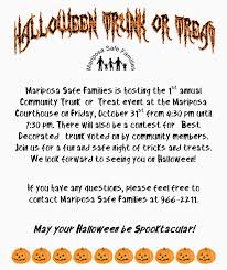 mariposa safe families to host 1st annual community trunk or treat