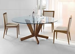 Round Dining Table With Glass Top Exclusive Dining Table Design With Glass Top And Wooden Also