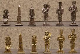 chess set pieces pewter ancient egypt nib ebay