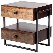 rustic wood side table alena industrial rustic wood steel side table industrial side