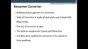 manufacture of steel by bessemer process youtube