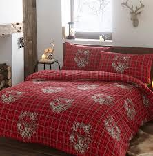 tartan check garland stag 100 brushed cotton flannelette duvet