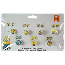 minion earrings universal minions days of the week earring and ring