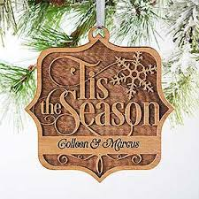 personalized wood ornament tis the season