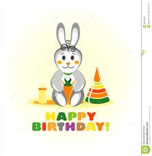 rabbit birthday happy birthday card with rabbit stock vector illustration of