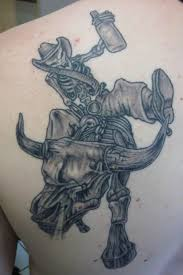 outstanding weird skull cowboy tattoo design tattooshunter com