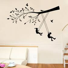 boy girls swing wall stickers for kids rooms green tree wall