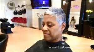 black women short grey hair gray hair pixie cut haircut short hair youtube