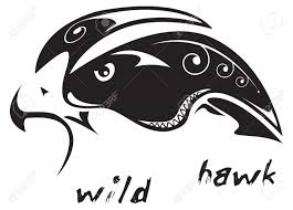 black and white vector wild hawk tribal tattoo style very