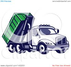 clipart of a retro roll off bin dump truck royalty free vector