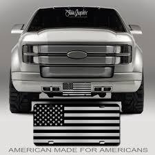 Custom Car Flag Chrome American Flag License Plate Matte Black On 1 8