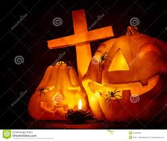 cemetery instrumental soundtrack halloween background sounds glowing pumpkin with cross stock images image 34509984