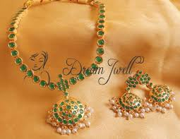 emerald necklace sets images Buy gorgeous semi precious emerald south indian style necklace set JPG