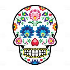 mexican sugar skull polish folk art style stock vector art