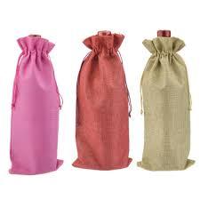burlap drawstring bags hessian burlap jute wine bottle drawstring bag burgundy chagne