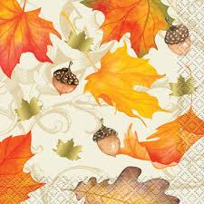foil gold fall leaves thanksgiving cocktail napkins 16 count