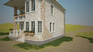 Two Storey House 3d Model Two Storey House On The Waterfront With The Environment