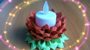 diy diwali decoration idea paper flower candle stand origami