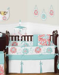 Floral Crib Bedding Sets Turquoise And Coral Floral Baby Crib Bedding Set