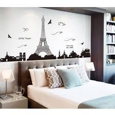 sticker mural chambre diy ville tour eiffel amovible sticker mural chambre wall