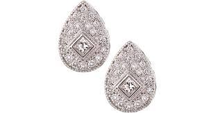 teardrop diamond earrings lyst charriol white gold teardrop diamond earrings in metallic