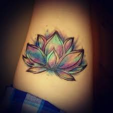 watercolor beautiful lotus on forearm