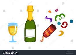 mixed drink clipart holiday gold champagne glass new year stock vector 590956334