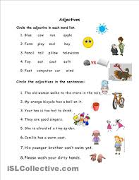 adjective worksheets grade 1 grade 1 sle worksheets on nouns verbs and adjectives