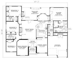 Floor Plans For One Story Homes European Style House Plan 4 Beds 3 Baths 2525 Sq Ft Plan 17 639