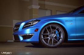 bagged mercedes cls matte blue mercedes benz cls550 on velgen wheels vmb5